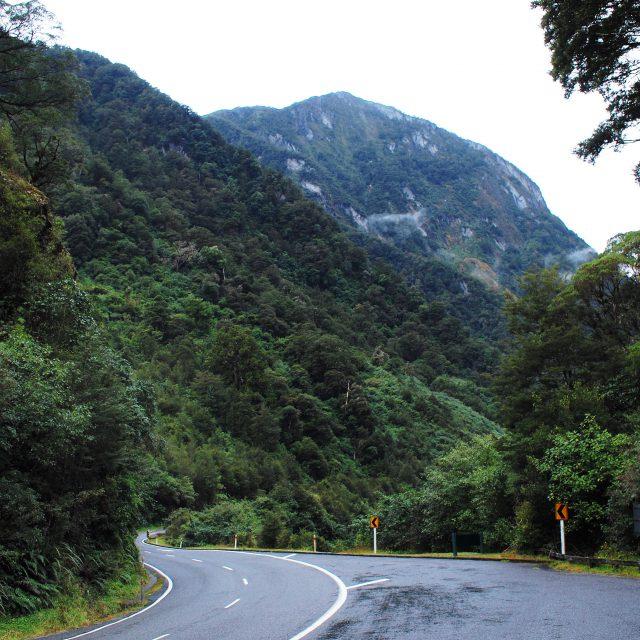 カーブの多い山道