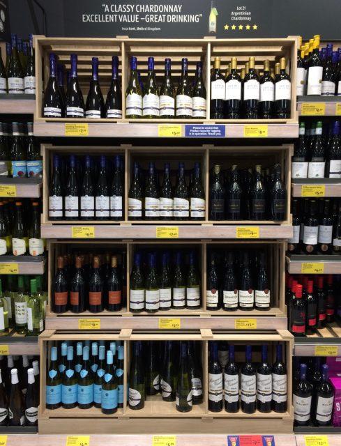 イギリスのスーパー、アルディのワイン売り場