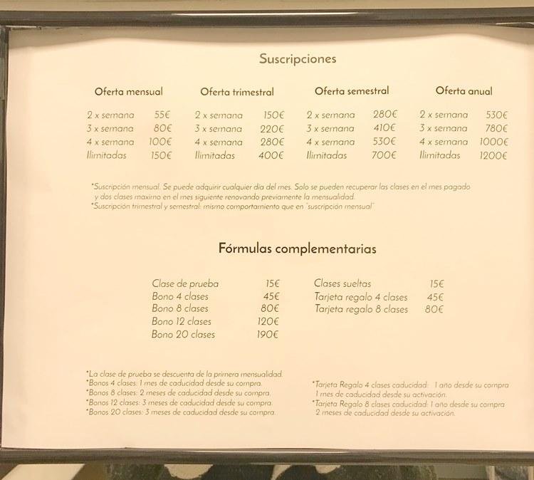 スペイン ヨガ教室の料金表