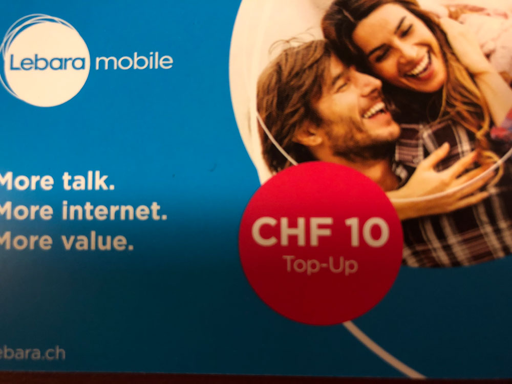 スイスでの携帯電話プリペイドカード