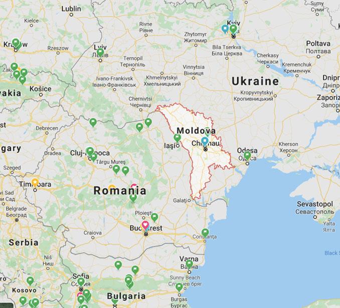 モルドバ共和国の位置