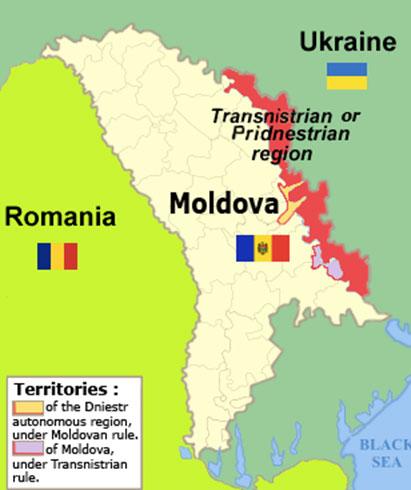 沿ドニエストル・モルドバ共和国の位置