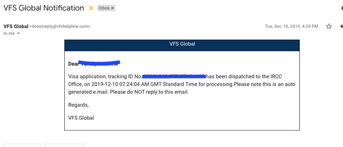 VFS Global Notificationのメール