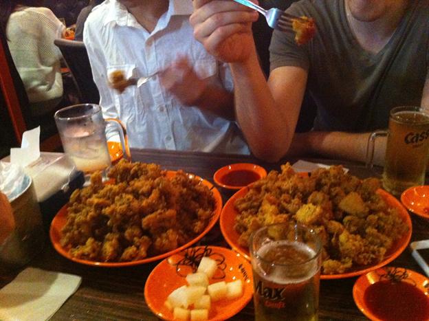 韓国語学留学中にクラスメイトと食事